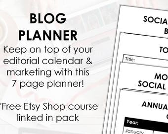 Blog Planner - 7 page printable planner bundle - A4 size (can be scaled to A5, or Letter)