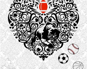 Panther Football Soccer Baseball Heart SVG PNG DXF