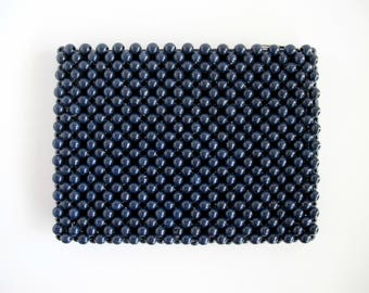 1960s Beaded Clutch, Mod Purse, Navy Blue Handbag