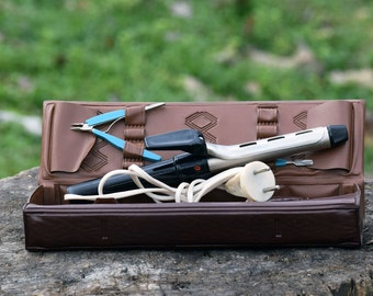 Vintage curling iron, Curling iron travel case, Electric curling iron, Old curling iron, Curling Iron, Retro curling iron, USSR curling iron