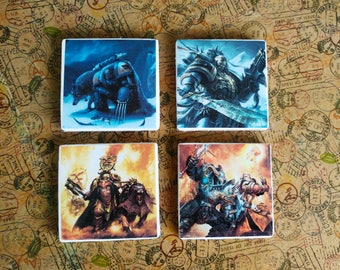 Warhammer Age of Sigmar and Space Wolves 40k handmade tile coasters set of two