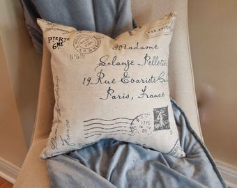"Custom Denim Postscript Decorative Throw Pillow Cover with blue and gray postscript w/ light background 18""x18"",Reversible with zip closures"