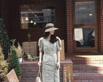 2Colors linen cotton button up dress -Natural Linen Dress- midi dress - button up dress