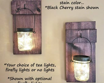 Lighted Mason Jar Sconces, Farmhouse Decor, Reclaimed Wood Sconces, Country Decor, SET OF 2 Hanging Sconces, Rustic Home Decor