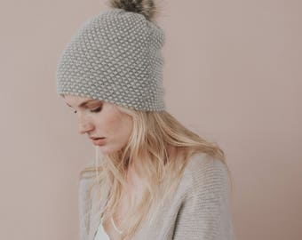 Baby Alpaca Knit Hat// Faux Fur Pom Pom Toque//Luxury aHat// Blend of Alpaca Wool and Silk// Light Grey Colour