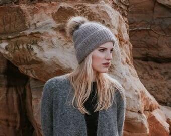 Mohair Knit Hat // Brown Hat with Faux Fur Pom Pom//Moca Colour