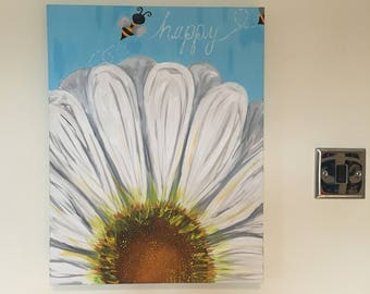 Original 'Be Happy' Flower Painting