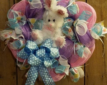 Easter wreath - bunny - deco mesh - spring