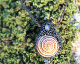 Rainbow Moonstone, Polymer Clay, Tribal forest Hand Made Pendant.