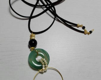 Natural Agate Pendant and gold-plated hoop.