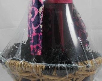 Vera Bradley Gift Basket - (Jewelry Roll, Ruffle Cosmetic Katalina Pink, Bottle)