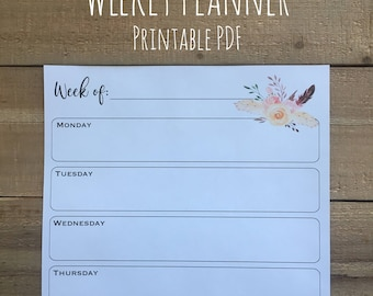 Weekly Planner | To-Do List | Printable PDF | Organization | Stay Organized | Instant Download