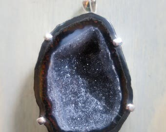 Large Tobasco Geode pendant with crystals in Sterling Silver