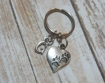 Heart Dog Keychain - Initial Keychain - Pet loss Memorial Keychain - Memorial Keychain - Puppy Love  Keychain - Pet Love - Sympathy Gift