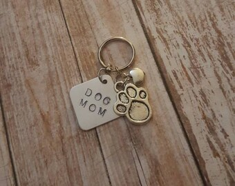 Dog Mom - Hand stamped Keychain - Heart Charm - Paw print Charm - Valentines Day Dog Lover Gifts