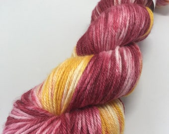 Hand Dyed Yarn Oddball Ruby Red & Golden Yellow Variegated 100g / 225m DK Double Knitting 80/20% Superwash Merino/Bamboo Mulesing Free