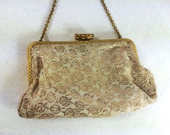 Vintage Evening Purse Cream Gold Purse Elegant Evening Shoulder Bag Vintage Glamarous Purse