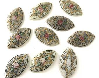 Vintage Shabby Chic Navette Mosaic Cabochons 28 x 16mm