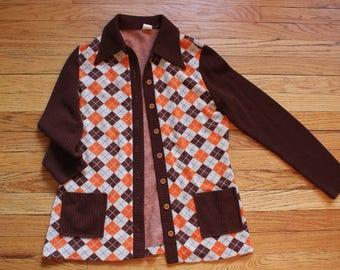 Vintage 70s Argyle Button Up Cardigan Sweater Dress
