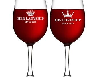 Toasting Wine Glass for Wedding - His & Hers Wine Glass - Newlywed Gifts iDea for Couple - Wedding Glassware - Party Accessories