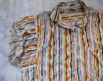 90s Striped Over-Sized Blouse/Button-up