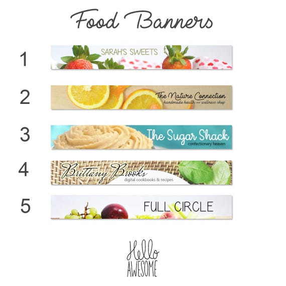 Food Etsy Shop Banners for Creatives Custom Branding Design