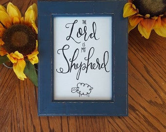 The Lord is my Shepherd // Christian Wall Art // Christian Decor // Sheep Decor // Bible Quote