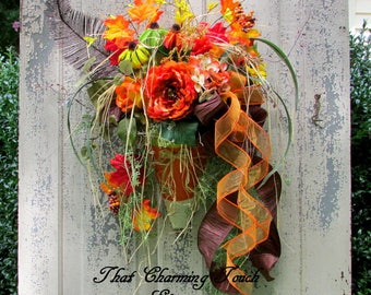 Autumn wreath, Candy corn, fall swag, Autumn decor, orange peony, fall door, fall decor, orange wreath, wispy wreath, Halloween, door decor