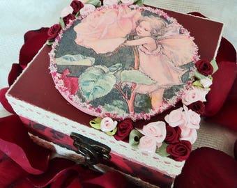 Box decorative, storage box, jewelry box, wooden box, box vintage, the Rose fairy spirit.