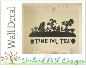 Alice in Wonderland Tea Party Scence large vinyl Wall Decal , Mad Hatter, March Hare, Alice, Disney, tea party