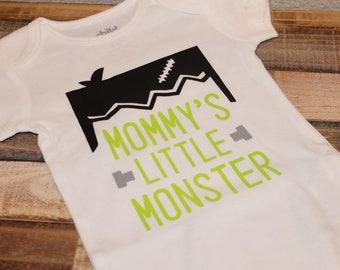 Mommy's little monster shirt; mommys little monster bodysuit; boys halloween shirt; halloween shirt; frankenstein shirt; monster shirt