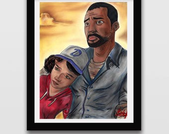 Clementine & Lee (The Walking Dead Game) Fine art Print
