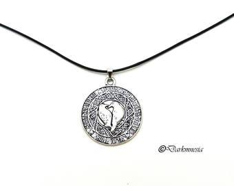 Necklace, runes, Odin raven, crow, Hugin and Munin, black cord, pendant, pagan, nordic, viking, futhark