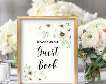 Please Sign Our Guest Book Sign, Printable Wedding Sign, Guest Book Reception, Floral Guest Book Sign, Floral Watercolor #A001