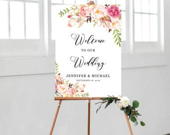 Wedding Welcome Sign, Wedding Welcome Sign Template, Ceremony Welcome Sign, Welcome Sign Printable, Welcome To Our Wedding, Bohemian
