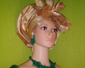 Champagne Gold, Flower Detail Organza Gele by Lois Crystal Eleganza