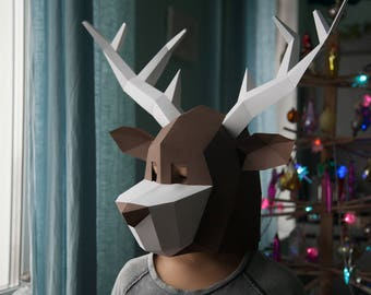Christmas Deer Low Poly Mask Download PDF