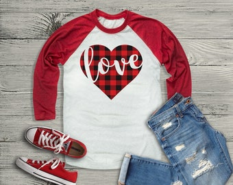 Plaid Heart Love Raglan // Plaid Heart Raglan // Valentines Shirt // Buffalo Plaid // Plaid Valentines Shirt
