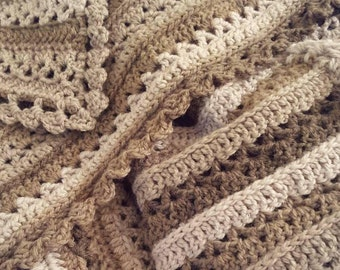 Crochet PATTERN for Shades of Mushrooms Afghan, Crochet Blanket Pattern, Crochet Throw Pattern