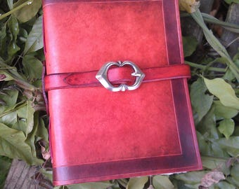Red leather handmade grimoire / LARP / personal diary