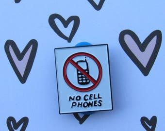 """No Cell Phones, Luke's Diner Sign 1.15"""" Soft Enamel Pin, Gilmore Girls"""