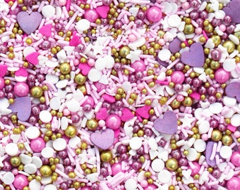 Forget Me Not, Pastel sprinkles, heart sprinkles, pastel pink sprinkles,  Valentines day sprinkles,  Gold Sprinkles, Fancy Sprinkles
