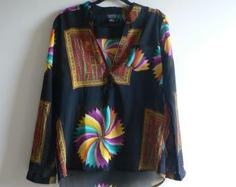 80s Sheer Rainbow Tropical Shirt - Geometric 80s Top - Women's L