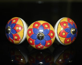 Colorful Flower design Red Blue & yellow ceramic Knob Handprinted Cabinet Knob Cupboards Dresser Drawers pull - Price is for 1 knob (OMK005)