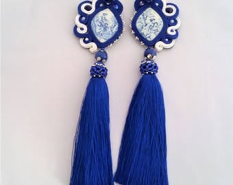soutache earrings deep blue tassels, soutache, soutache jewelry, soutache jewels, handmade earrings, tassel earrings, soutache embroidery