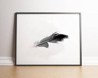 Scandinavian print, Feather Print, Home decor print, Nordic Digital Print, Black White digital Print, Minimalist Ar, Black and white print