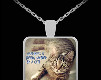 """CAT LOVER NECKLACE! Adorable gray striped Kitty cat photograph celebrates all things cat! Perfect gift for a cat mom! 22"""" Silver Necklace!"""