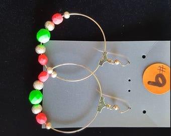Hoop Earrings Hot pink and Neon Green Beads
