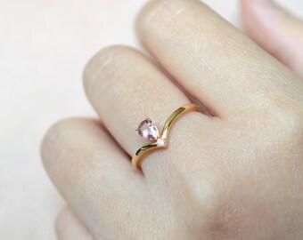 Tourmaline Engagement Ring 18K Rose Gold Ring Diamond Engagement Ring Pink Tourmaline Ring 14K Rose Gold Ring Gemstone Engagement Ring