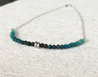 Chrysocolla Blue-Green Bead and Sterling Silver Necklace